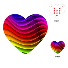 Spectrum Rainbow Background Surface Stripes Texture Waves Playing Cards (Heart)