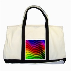Spectrum Rainbow Background Surface Stripes Texture Waves Two Tone Tote Bag