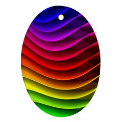 Spectrum Rainbow Background Surface Stripes Texture Waves Oval Ornament (two Sides)