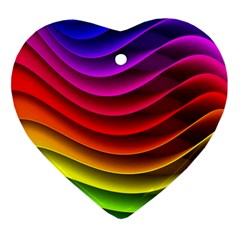 Spectrum Rainbow Background Surface Stripes Texture Waves Heart Ornament (two Sides)