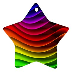 Spectrum Rainbow Background Surface Stripes Texture Waves Star Ornament (two Sides)