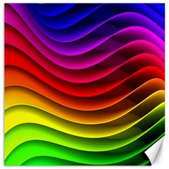 Spectrum Rainbow Background Surface Stripes Texture Waves Canvas 20  X 20