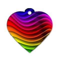 Spectrum Rainbow Background Surface Stripes Texture Waves Dog Tag Heart (One Side)