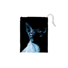 Blue Sphynx cat Drawstring Pouches (XS)