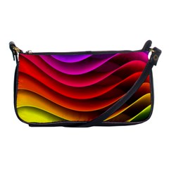 Spectrum Rainbow Background Surface Stripes Texture Waves Shoulder Clutch Bags