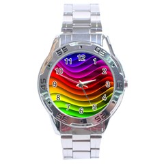 Spectrum Rainbow Background Surface Stripes Texture Waves Stainless Steel Analogue Watch