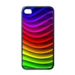 Spectrum Rainbow Background Surface Stripes Texture Waves Apple Iphone 4 Case (black)