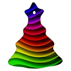 Spectrum Rainbow Background Surface Stripes Texture Waves Christmas Tree Ornament (Two Sides)