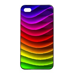 Spectrum Rainbow Background Surface Stripes Texture Waves Apple iPhone 4/4s Seamless Case (Black)