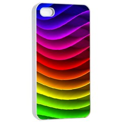 Spectrum Rainbow Background Surface Stripes Texture Waves Apple Iphone 4/4s Seamless Case (white)