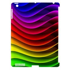 Spectrum Rainbow Background Surface Stripes Texture Waves Apple iPad 3/4 Hardshell Case (Compatible with Smart Cover)