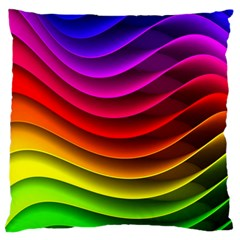 Spectrum Rainbow Background Surface Stripes Texture Waves Large Cushion Case (Two Sides)