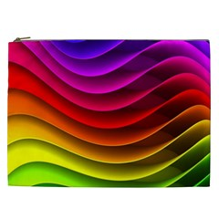 Spectrum Rainbow Background Surface Stripes Texture Waves Cosmetic Bag (XXL)