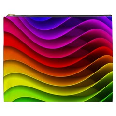 Spectrum Rainbow Background Surface Stripes Texture Waves Cosmetic Bag (XXXL)