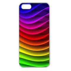 Spectrum Rainbow Background Surface Stripes Texture Waves Apple Seamless iPhone 5 Case (Clear)