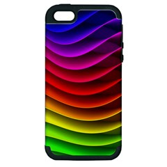 Spectrum Rainbow Background Surface Stripes Texture Waves Apple iPhone 5 Hardshell Case (PC+Silicone)