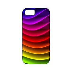 Spectrum Rainbow Background Surface Stripes Texture Waves Apple Iphone 5 Classic Hardshell Case (pc+silicone)