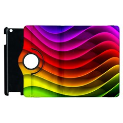 Spectrum Rainbow Background Surface Stripes Texture Waves Apple iPad 2 Flip 360 Case