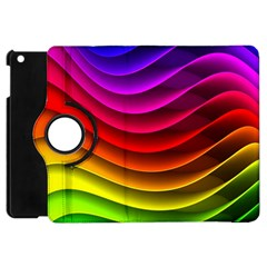 Spectrum Rainbow Background Surface Stripes Texture Waves Apple iPad Mini Flip 360 Case
