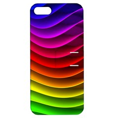 Spectrum Rainbow Background Surface Stripes Texture Waves Apple iPhone 5 Hardshell Case with Stand