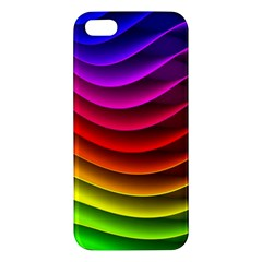 Spectrum Rainbow Background Surface Stripes Texture Waves Apple iPhone 5 Premium Hardshell Case