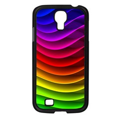 Spectrum Rainbow Background Surface Stripes Texture Waves Samsung Galaxy S4 I9500/ I9505 Case (Black)