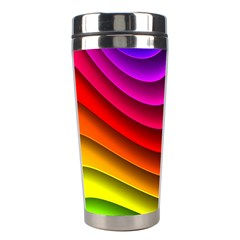 Spectrum Rainbow Background Surface Stripes Texture Waves Stainless Steel Travel Tumblers