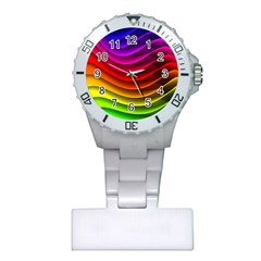 Spectrum Rainbow Background Surface Stripes Texture Waves Plastic Nurses Watch