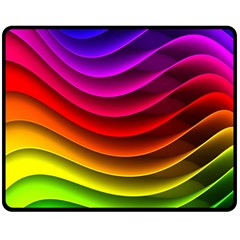 Spectrum Rainbow Background Surface Stripes Texture Waves Double Sided Fleece Blanket (medium)