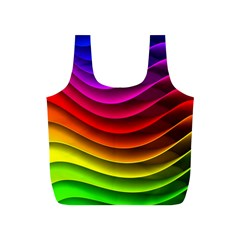 Spectrum Rainbow Background Surface Stripes Texture Waves Full Print Recycle Bags (S)