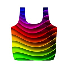 Spectrum Rainbow Background Surface Stripes Texture Waves Full Print Recycle Bags (m)