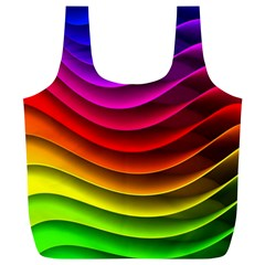 Spectrum Rainbow Background Surface Stripes Texture Waves Full Print Recycle Bags (L)