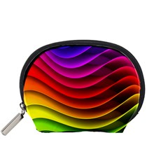 Spectrum Rainbow Background Surface Stripes Texture Waves Accessory Pouches (small)