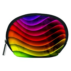 Spectrum Rainbow Background Surface Stripes Texture Waves Accessory Pouches (Medium)