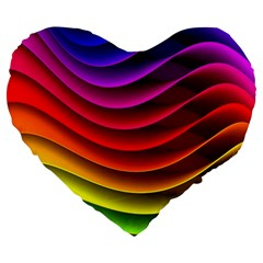 Spectrum Rainbow Background Surface Stripes Texture Waves Large 19  Premium Flano Heart Shape Cushions