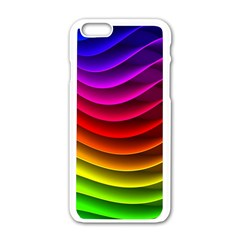 Spectrum Rainbow Background Surface Stripes Texture Waves Apple Iphone 6/6s White Enamel Case