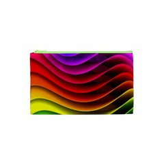 Spectrum Rainbow Background Surface Stripes Texture Waves Cosmetic Bag (XS)