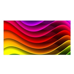 Spectrum Rainbow Background Surface Stripes Texture Waves Satin Shawl