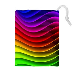 Spectrum Rainbow Background Surface Stripes Texture Waves Drawstring Pouches (extra Large)