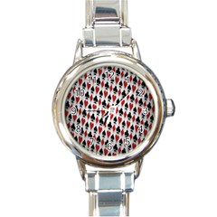 Suit Spades Hearts Clubs Diamonds Background Texture Round Italian Charm Watch