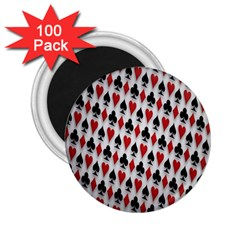 Suit Spades Hearts Clubs Diamonds Background Texture 2.25  Magnets (100 pack)