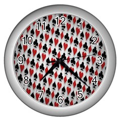 Suit Spades Hearts Clubs Diamonds Background Texture Wall Clocks (silver)