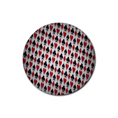 Suit Spades Hearts Clubs Diamonds Background Texture Rubber Round Coaster (4 Pack)
