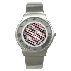 Suit Spades Hearts Clubs Diamonds Background Texture Stainless Steel Watch