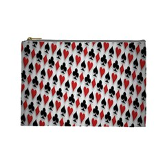 Suit Spades Hearts Clubs Diamonds Background Texture Cosmetic Bag (large)