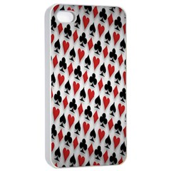 Suit Spades Hearts Clubs Diamonds Background Texture Apple iPhone 4/4s Seamless Case (White)