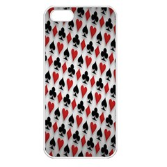 Suit Spades Hearts Clubs Diamonds Background Texture Apple iPhone 5 Seamless Case (White)