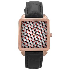 Suit Spades Hearts Clubs Diamonds Background Texture Rose Gold Leather Watch