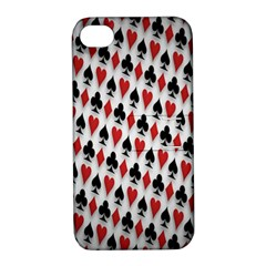 Suit Spades Hearts Clubs Diamonds Background Texture Apple iPhone 4/4S Hardshell Case with Stand