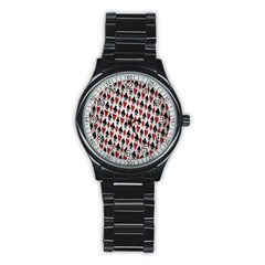 Suit Spades Hearts Clubs Diamonds Background Texture Stainless Steel Round Watch